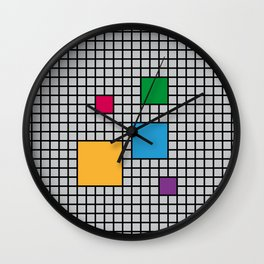 Colorful Squares on Grid Wall Clock