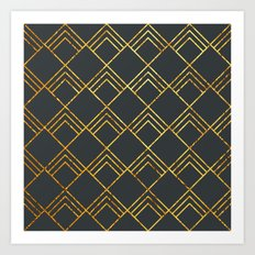 Diamond Art Deco; - Black & Gold  Art Print