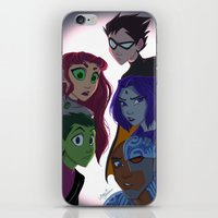 teen titans iPhone & iPod Skins featuring Teen Titans by Angie Nasca