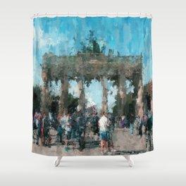 Brandenburger Tor, Brandenburg Gate - Berlin City  /  impressionism style painting Shower Curtain