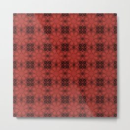 Aurora Red Floral Geometric Metal Print