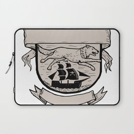 Wolf Running Over Pirate Ship Crest Scratchboard Laptop Sleeve