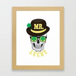 Mr Lucky Grinning Skull Sunglasses St Patricks Day print Framed Art Print