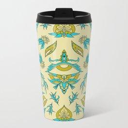 Boho Floral Pattern Metal Travel Mug
