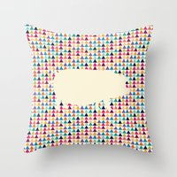 piglet Throw Pillows featuring Geometric Piglet  by ArtisanObscure Prints