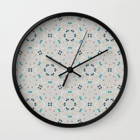 gold dots Wall Clocks featuring dots by Designed by Ruth