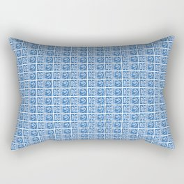 Blue Fish Block Print Rectangular Pillow