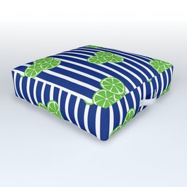 Lime Slices on Navy and White Stripes Outdoor Floor Cushion