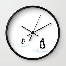 Penguins on Ice Wall Clock