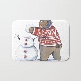 Bear with snowman Bath Mat