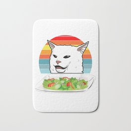 Cat Meme Woman Yelling At Table Dinner Ugly Christmas Gift Bath Mat