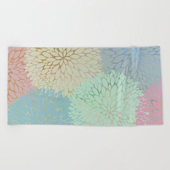Abstract Floral Petals Beach Towel