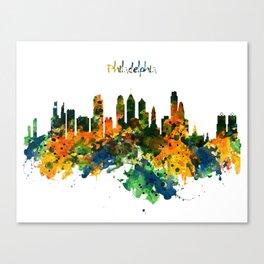 Philadelphia Watercolor Skyline Canvas Print