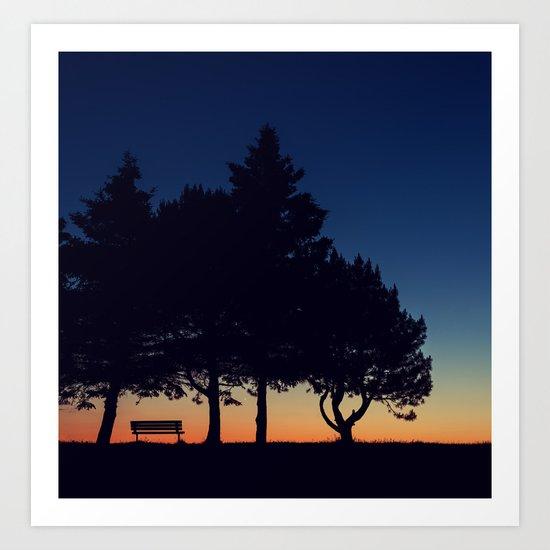 Bench in Twilight Art Print