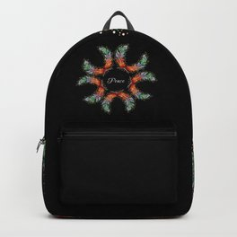 Hand Embroidery Tribal Rainbow Feather - Peace Backpack