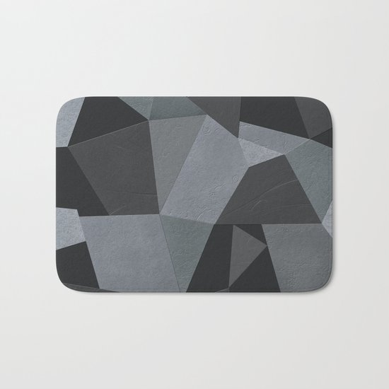 Black and grey worn . Leather patches . Bath Mat