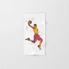 Basketball player 02 in watercolor Hand & Bath Towel