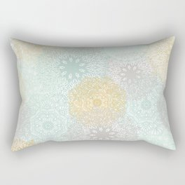 Floral Mandala Blooms Fall, Yellow, Aqua,Gray Rectangular Pillow