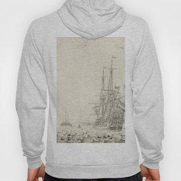 Dutch Ships near the Coast Oil Painting by Willem van de Velde the Elder Hoody