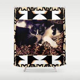 Love & Peace Cats on Black,White,Gold,Leopard Shower Curtain