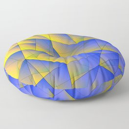 Bright fragments of crystals on irregularly shaped yellow and blue triangles. Floor Pillow