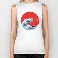kaiju Biker Tanks featuring Hokusai kaiju by Marco Mottura - Mdk7
