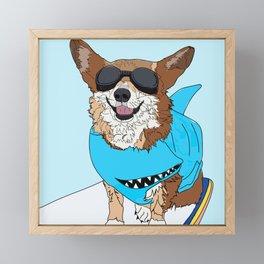 Corgi Dog Surfer Framed Mini Art Print