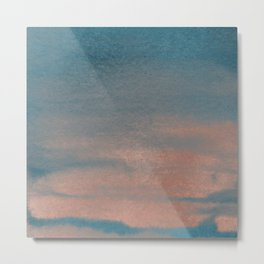 Abstract sky blue rose gold watercolor sunset Metal Print