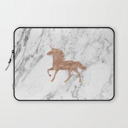 Rose gold unicorn on marble Laptop Sleeve