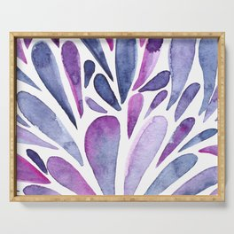 Watercolor artistic drops - purple and indigo Serving Tray