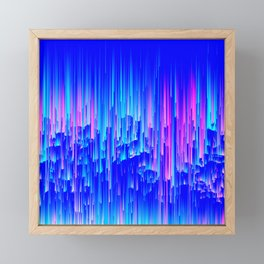 Neon Rain - A Digital Abstract Framed Mini Art Print