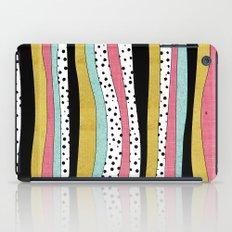 Polka Pink Blue Gold Wavy Stripes iPad Case