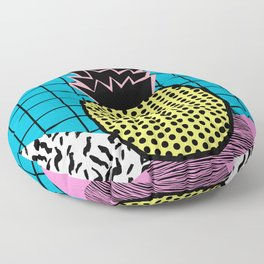 Grindage - pineapple fruit tropical pattern memphis style art print bright neon 1980 1980's 80's 80s Floor Pillow