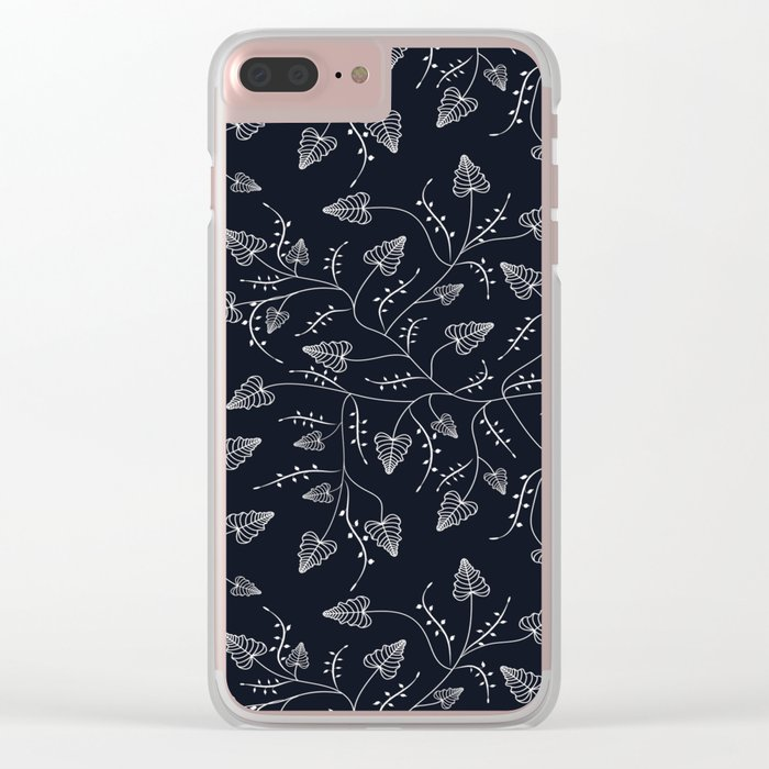 Delicate leaves on a black background . Clear iPhone Case