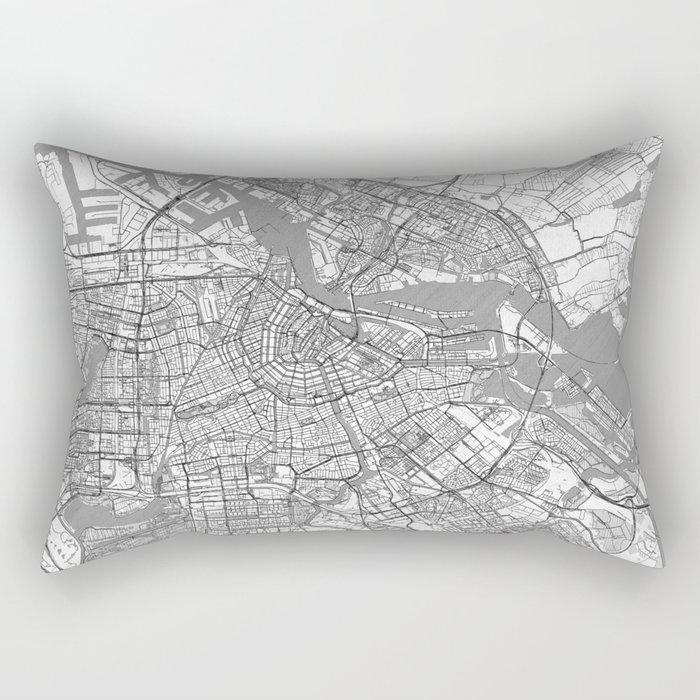 Amsterdam Map Line Rectangular Pillow