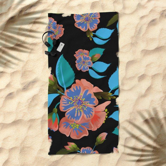 tas.color flower pattern Beach Towel
