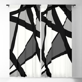 Geometric Line Abstract - Black Gray White Blackout Curtain
