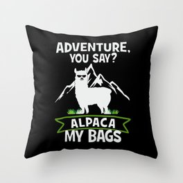 Alpaca My Bags  Travelling Throw Pillow