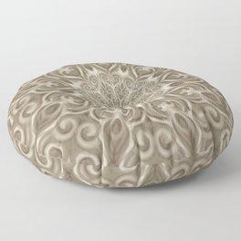 Beige swirl mandala Floor Pillow