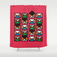 letters Shower Curtains featuring Brief Letters by Efon Vee
