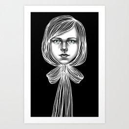 Negativ-Bow tie Girl Art Print