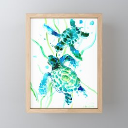 Sea Turtles, Turquoise blue Design Framed Mini Art Print