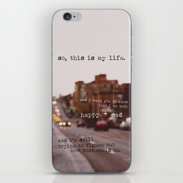perks of being a wallflower - happy + sad iPhone Skin