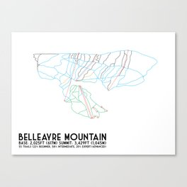 Belleayre Ski Center, NY - Minimalist Trail Art Canvas Print