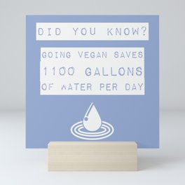 vegan water saving_white text on periwinkle Mini Art Print