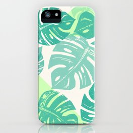 Linocut Monstera Green iPhone Case
