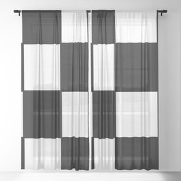 Checkered,black and white checked pattern.Gingham. Sheer Curtain