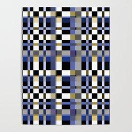 Blue brown plaid Poster