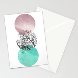 Lake in the forest under the pink sky Stationery Cards