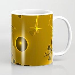 Pattern black gold floral elements yellow luminous ethnic style. Coffee Mug